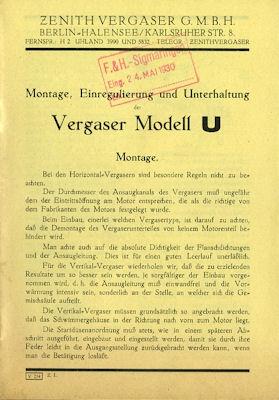 Zenith Vergaser Type U 1930