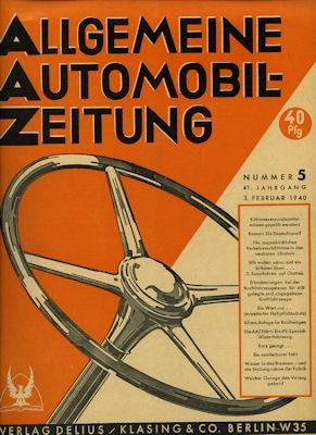 Allgemeine Automobil Zeitung (AAZ) 1940 Heft 5
