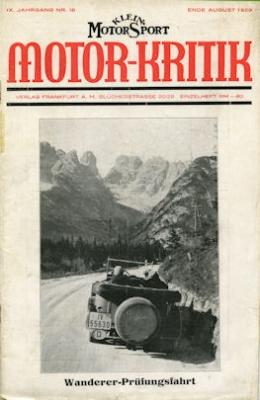 Klein-Motor-Sport / Motor-Kritik 1929 Heft 16