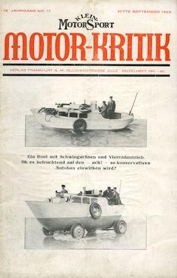 Klein-Motor-Sport / Motor-Kritik 1929 Heft 17