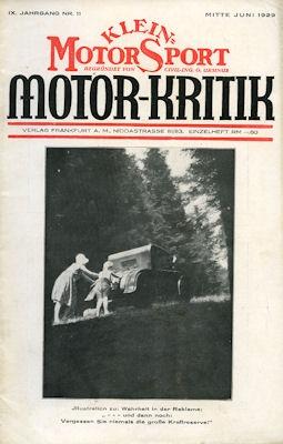 Klein-Motor-Sport / Motor-Kritik 1929 Heft 11