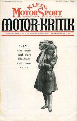 Klein-Motor-Sport / Motor-Kritik 1929 Heft 12