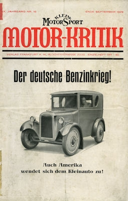 Klein-Motor-Sport / Motor-Kritik 1929 Heft 18