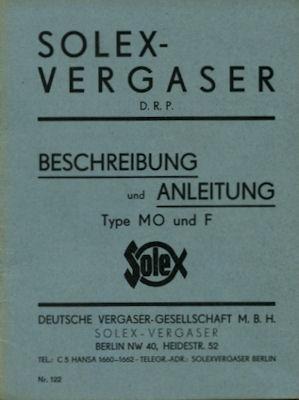 Solex Vergaser Type MO u. F ca. 1930