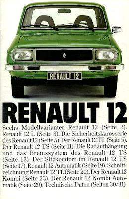 Renault 12 Prospekt ca. 1976