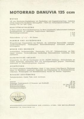Pannonia Danuvia 125 ccm Prospekt 1960er Jahre 1