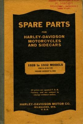 Harley-Davidson Ersatzteilliste 1928-1932