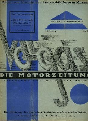 Vollgas Die Motor Zeitung 1.9.1925 Nr. 5
