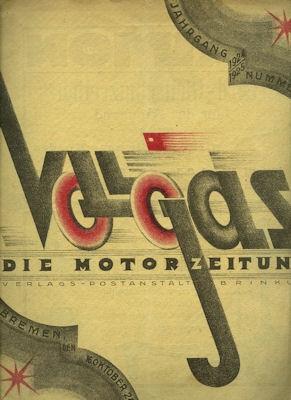 Vollgas Die Motor Zeitung 16.10.1924 Nr. 3