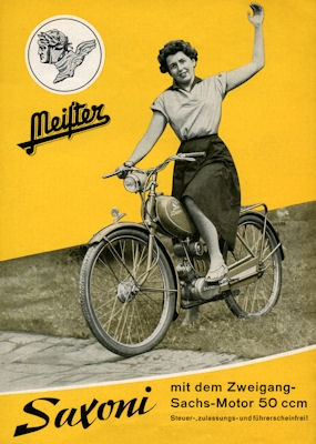 Meister Saxoni Moped Prospekt ca. 1953
