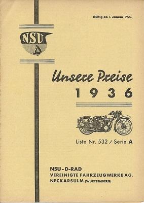 NSU Preisliste Motorrad 1.1.1936