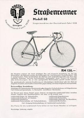 Presto Fahrrad Prospekt 1939
