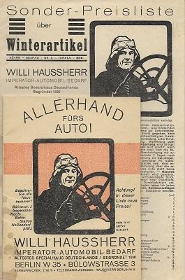 Willi Haussherr Automobil-Bedarf 1930er Jahre