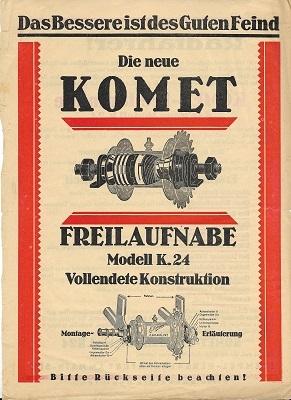 Komet Freilaufnabe Prospekt 1925