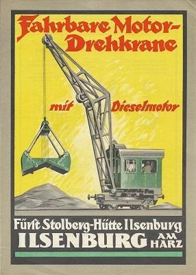Fürst Stolberg-Hütte Isenburg Fahrbare Motor-Drehkräne Prospekt 1930er Jahre