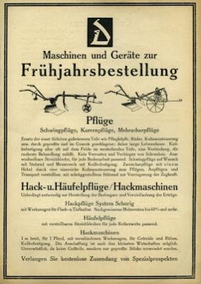 Deutsche Werke AG Ackergeräte Prospekt 1925