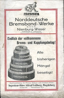 Norddeutsche Bremsband Werke Bremskerl Prospekt 1920er Jahre