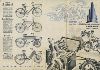 Bauer Gepäckräder, Fahrrad- und Motorradanhänger Prospekt 1930er Jahre
