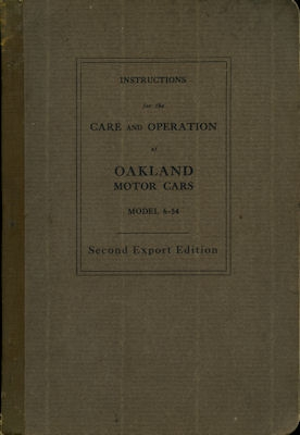 Oakland Model 6-54 Bedienungsanleitung ca. 1930