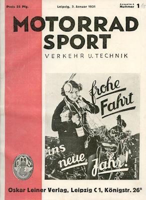 Motorrad Verkehr Sport und Technik 1931 Heft 1