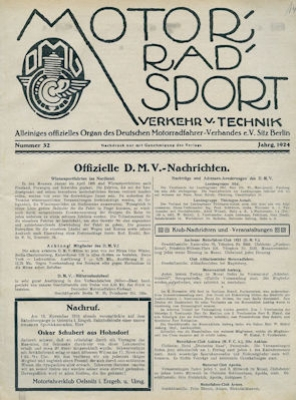 Motorrad Verkehr Sport und Technik 1924 Heft 32