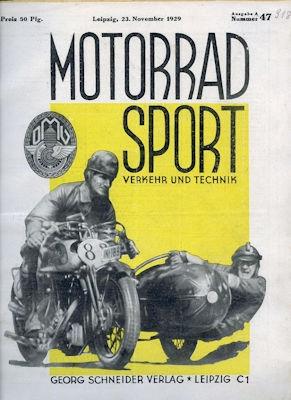 Motorrad Verkehr Sport und Technik 1929 Heft 47