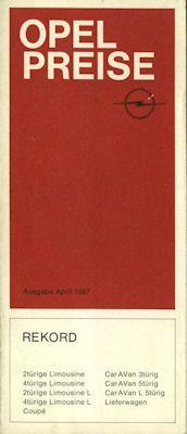 Opel Rekord C Preisliste 4.1967 0