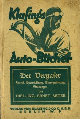 Klasings Auto-Bücher Der Vergaser Bd. 24 1925