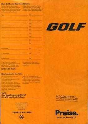 VW Golf 1 Preisliste 1976