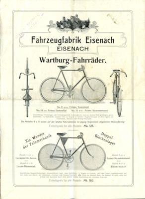 Wartburg Fahrrad Prospekt ca. 1895-1900