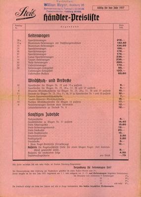 Steib Preisliste 1937