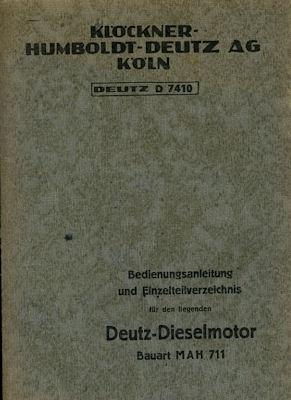 Deutz Dieselmotor MAH 711 Bedienungsanleitung 1940er Jahre