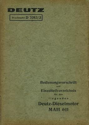 Deutz Dieselmotor MAH 611 Bedienungsanleitung 7.1933