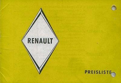 Renault Preisliste Herbst 1959