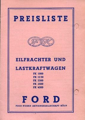 Ford FK Preisliste 1.1959