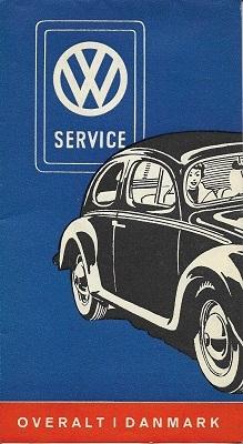 VW Service und Straßenkarte Dänemark ca. 1960