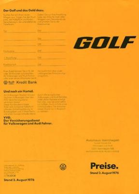 VW Golf 1 Preisliste 8.1976
