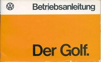 VW Golf 1 Bedienungsanleitung 8.1974
