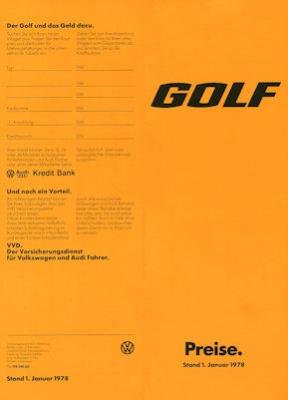 VW Golf 1 Preisliste 1.1978
