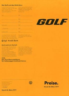 VW Golf 1 Preisliste 3.1977