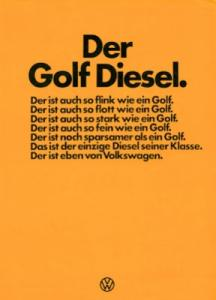 VW Golf 1 Diesel Prospekt 9.1976