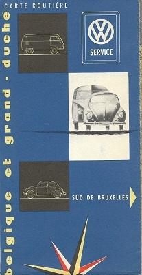 VW Service und Straßenkarte Belgien 1960er Jahre 0