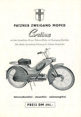 Patzner Moped Cortina Prospekt 1950er Jahre