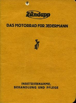 Zündapp K 249 Bedienungsanleitung ca. 1924