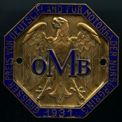 Plakette OMB Nürburgring 1931
