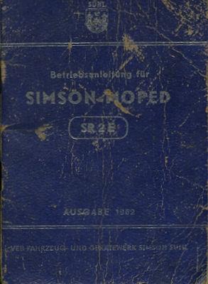 Simson SR 2 E Bedienungsanleitung 1962