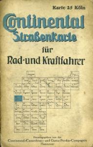 Continental Straßenkarte 25 Köln 1930er Jahre