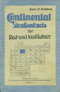 Continental Straßenkarte 12 Hamburg 1930er Jahre