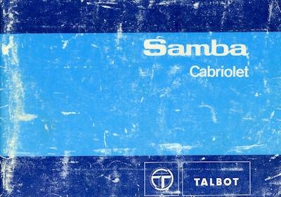 Talbot Samba Cabriolet Bedienungsanleitung 10.1982