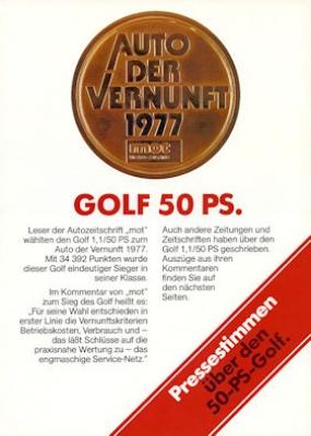 VW Golf 1 Pressestimmen 11.1977 0